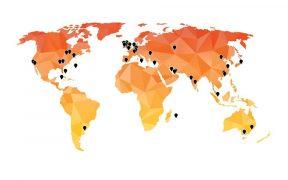 Illustration de la présence mondiale du groupe Apex