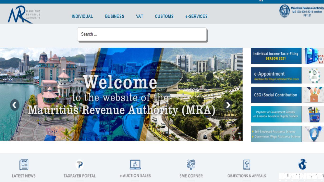 Capture d'écran de la page d'accueil de la MRA